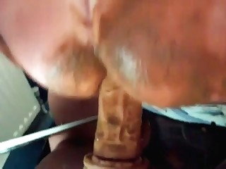 Jumping on a shitty dildo