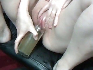 Filthy blonde drinks her urine