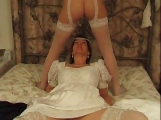 Two dirty brides are enjoying scat